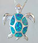 Inlaid Created Opal Sea Turtle Pendant