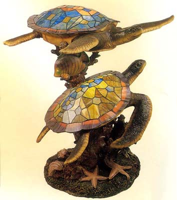 Nice Tiffany Sea Turtle Sculpture With Light #A